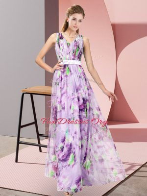 Romantic V-neck Sleeveless Printed Prom Evening Gown Pattern Zipper