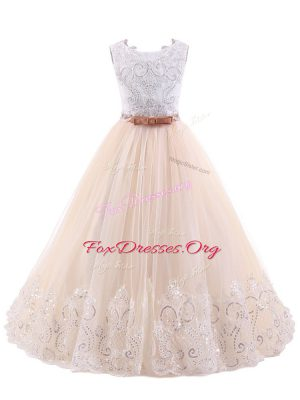 New Arrival A-line Sleeveless Pink Flower Girl Dresses Brush Train Zipper