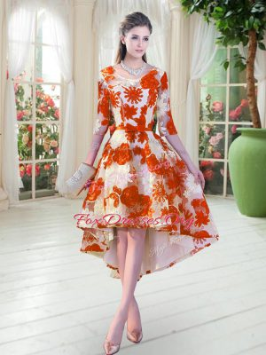 Elegant Orange Red Scoop Lace Up Belt Prom Evening Gown Half Sleeves