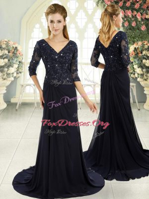 Free and Easy Navy Blue Prom Gown Prom and Party and Military Ball with Beading and Lace and Appliques V-neck Half Sleeves Sweep Train Zipper