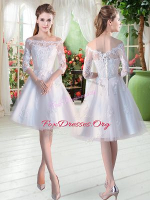 White A-line Off The Shoulder Half Sleeves Tulle Knee Length Lace Up Lace and Appliques Dress for Prom
