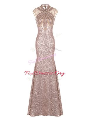 High-neck Sleeveless Prom Gown Pink Sequined