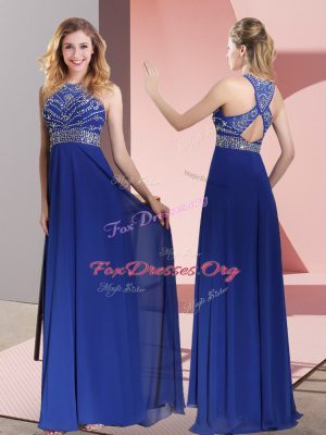 High Quality Satin Sleeveless Prom Evening Gown Sweep Train and Beading and Lace