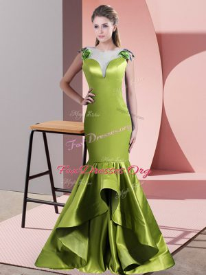 Green and Olive Green Dress for Prom Prom and Party with Beading Scoop Sleeveless Sweep Train Side Zipper