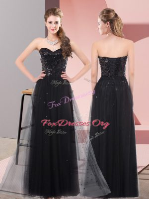 Fine Sequins Formal Evening Gowns Black Lace Up Sleeveless Floor Length