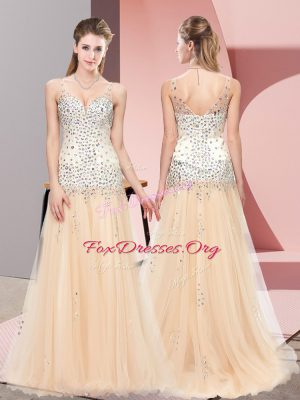 Hot Selling V-neck Sleeveless Tulle Prom Dress Beading Sweep Train Zipper