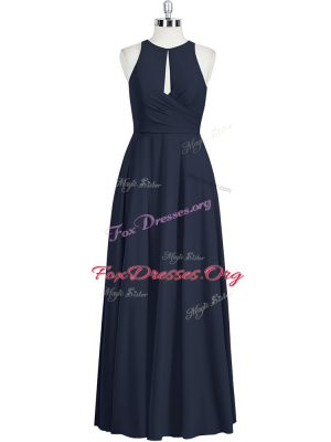 Edgy Black Scoop Neckline Ruching Prom Evening Gown Sleeveless Zipper