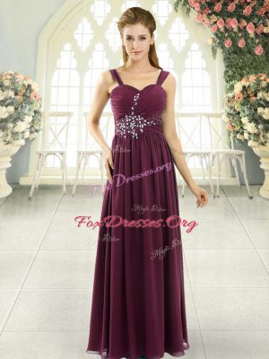 Floor Length Burgundy Prom Party Dress Spaghetti Straps Sleeveless Lace Up
