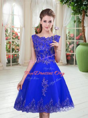Gorgeous Royal Blue Sleeveless Knee Length Beading and Appliques Lace Up Homecoming Dress