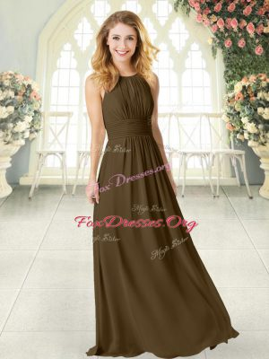 Sleeveless Floor Length Ruching Zipper Prom Evening Gown with Brown