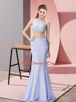 Super Halter Top Sleeveless Backless Beading and Lace Homecoming Dress in Baby Blue