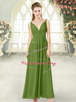 Stunning Olive Green Sleeveless Ruching Ankle Length Prom Evening Gown