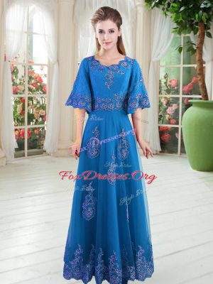 Tulle Scoop Half Sleeves Lace Up Lace Prom Gown in Blue