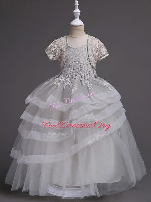 Grey Tulle Zipper Flower Girl Dresses for Less Sleeveless Floor Length Appliques and Ruffled Layers
