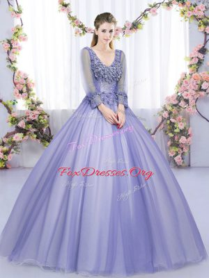 Floor Length Lace Up Sweet 16 Quinceanera Dress Lavender for Military Ball and Sweet 16 and Quinceanera with Lace and Appliques