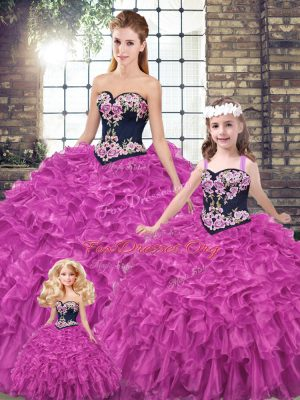Best Fuchsia Organza Lace Up Quinceanera Dresses Sleeveless Embroidery and Ruffles