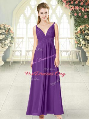 Sleeveless Ankle Length Ruching Zipper Evening Wear with Purple