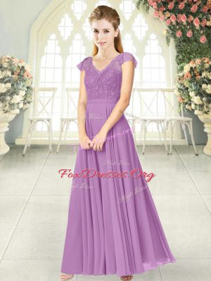 New Arrival Cap Sleeves Lace Zipper Prom Party Dress