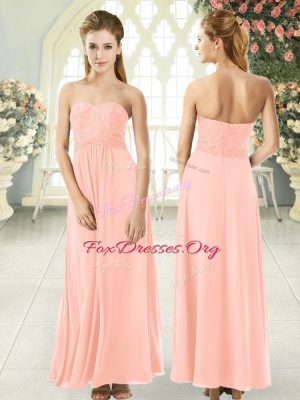 Super Peach Sleeveless Chiffon Zipper Evening Wear for Prom and Party