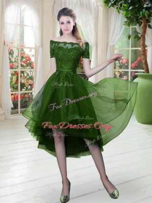 Enchanting Green Tulle Lace Up Off The Shoulder Short Sleeves High Low Dress for Prom Lace