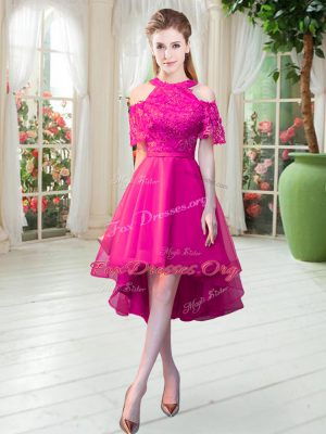 Artistic Hot Pink Zipper High-neck Lace Prom Dress Tulle Short Sleeves