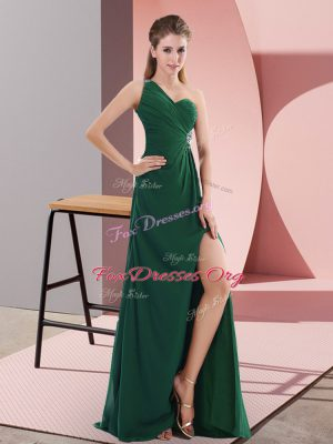 Glorious Green Empire One Shoulder Sleeveless Satin Sweep Train Backless Beading Prom Party Dress