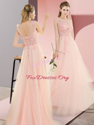 Affordable A-line Dress for Prom Pink Scoop Tulle Sleeveless Floor Length Lace Up
