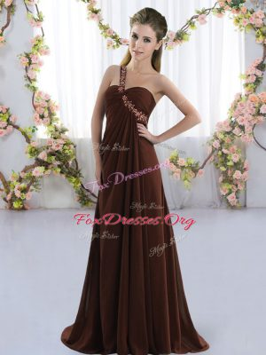 Beauteous Brown Empire One Shoulder Sleeveless Chiffon Brush Train Lace Up Beading Dama Dress for Quinceanera
