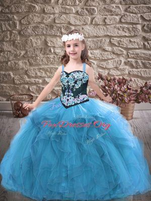 Perfect Baby Blue Ball Gowns Straps Sleeveless Tulle Floor Length Lace Up Embroidery and Ruffles Kids Formal Wear