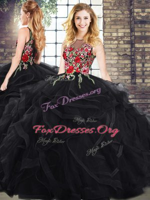 Traditional Black Quinceanera Gown Sleeveless Embroidery and Ruffles