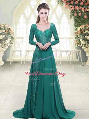 Smart Empire Long Sleeves Green Prom Gown Sweep Train Backless