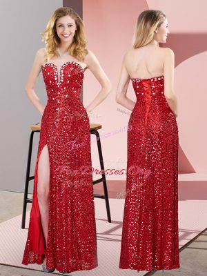 Comfortable Floor Length Column/Sheath Sleeveless Red Prom Evening Gown Lace Up