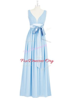Hot Sale Baby Blue Sleeveless Chiffon Backless Evening Dress for Prom and Party and Military Ball