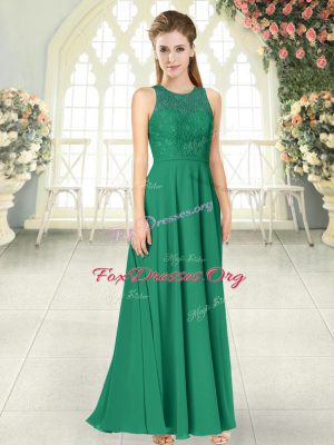 Lace Dress for Prom Green Backless Sleeveless Floor Length