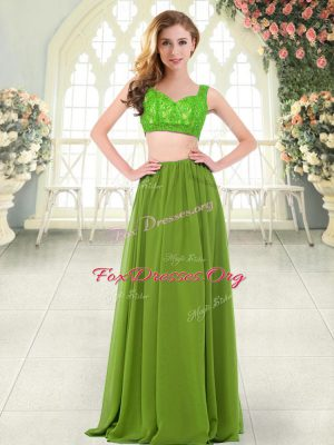 Pretty Sleeveless Floor Length Beading and Lace Zipper Prom Evening Gown with Olive Green