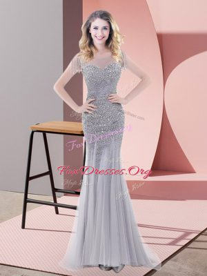 Sweet Short Sleeves Beading Zipper Evening Wear