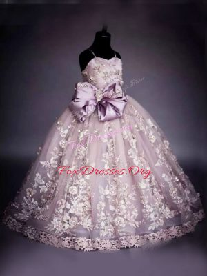Custom Design Pink Lace Up Spaghetti Straps Beading and Bowknot Little Girls Pageant Gowns Tulle Sleeveless