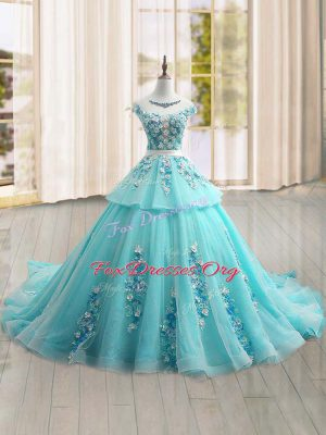 Most Popular Aqua Blue Lace Up Quinceanera Dress Appliques Cap Sleeves Brush Train