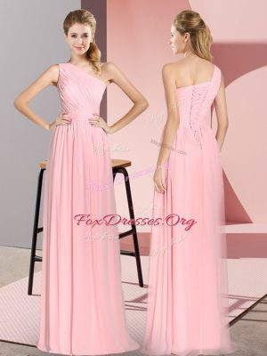 Graceful Pink Chiffon Lace Up One Shoulder Sleeveless Floor Length Evening Wear Ruching