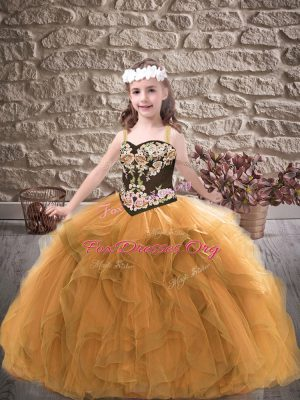 Trendy Floor Length Gold Kids Formal Wear Straps Sleeveless Lace Up