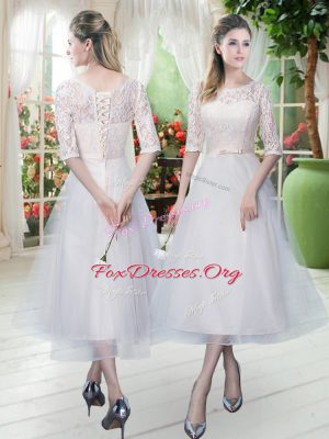 Great Scoop Half Sleeves Evening Dress Tea Length Lace White Tulle