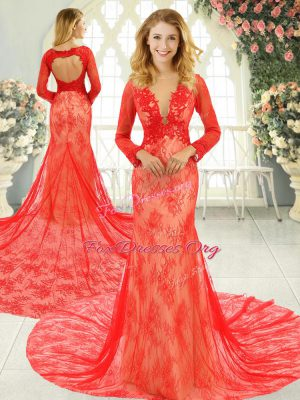 Beautiful Red Tulle Backless Scoop Long Sleeves Formal Dresses Court Train Lace