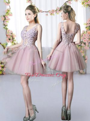 Delicate Pink A-line Appliques Bridesmaid Dresses Lace Up Tulle Sleeveless Mini Length