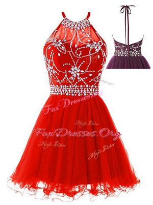 Halter Top Sleeveless Tulle Prom Party Dress Beading Backless