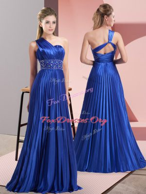 Noble Royal Blue Sleeveless Beading and Ruching Floor Length Prom Party Dress