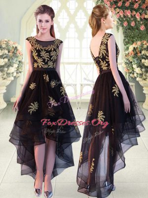 Black Tulle Lace Up Cap Sleeves High Low Appliques