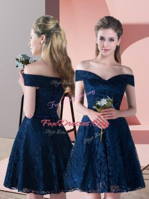 Navy Blue Lace Up Off The Shoulder Sleeveless Mini Length Prom Evening Gown Lace