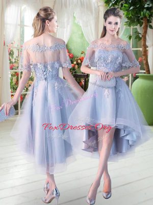 Romantic Light Blue Homecoming Dress Prom and Party with Appliques Off The Shoulder Half Sleeves Lace Up