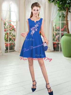 Noble Blue Sleeveless Satin Zipper Evening Dress for Prom and Party