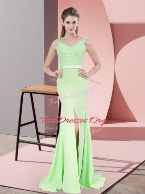 Sweep Train Mermaid Prom Evening Gown Apple Green V-neck Chiffon Sleeveless Zipper